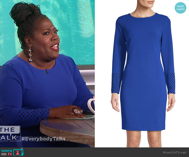 Long-Sleeve Sheath Dress by Karl Lagerfeld Paris worn by Sheryl Underwood (Sheryl Underwood) on The Talk
