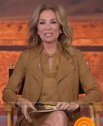 Kathie's camel moto jacket on Today