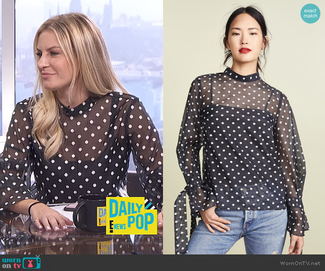 Morgan's polka dot top on E! News Daily Pop