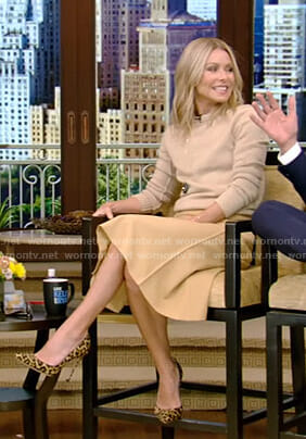 Kelly's beige sweater and yellow midi skirt on Live with Kelly and Ryan