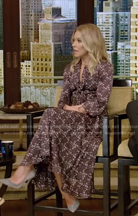 Kelly's purple floral tie neck dress on Live with Kelly and Ryan