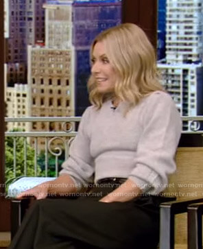 Kelly's grey sweater on Live with Kelly and Ryan