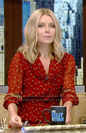 Kelly's red printed dress on Live with Kelly and Ryan