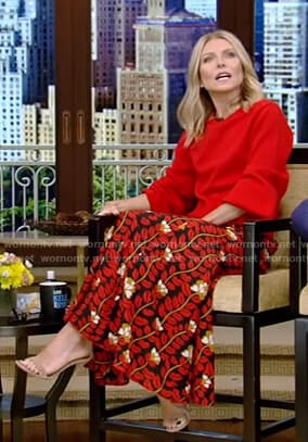 Kelly's red sweater and floral print skirt on Live with Kelly and Ryan
