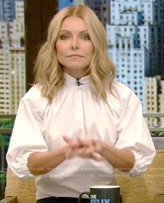 Kelly's white balloon sleeve blouse on Live with Kelly and Ryan