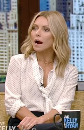 Kelly's white polka dot tie neck blouse on Live with Kelly and Ryan