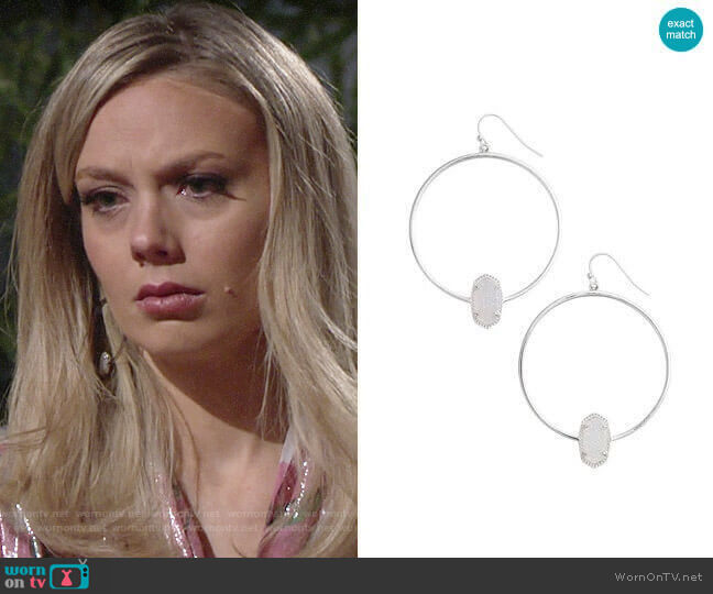 Kendra Scott Elora Hoop Earrings worn by Melissa Ordway on The Young & the Restless
