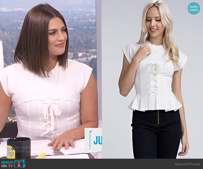 Kira Peplum Top by Honey Punch worn by Carissa Loethen Culiner (Carissa Loethen Culiner) on E! News