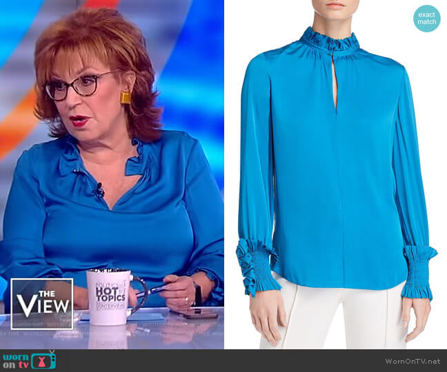 Joy's blue ruffle trim blouse on The View