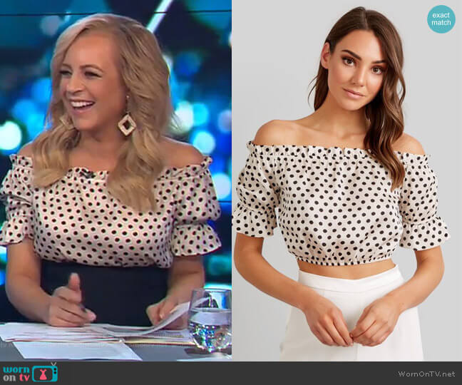 Ava Spot Top by Kookai worn by Carrie Bickmore (Carrie Bickmore) on The Project