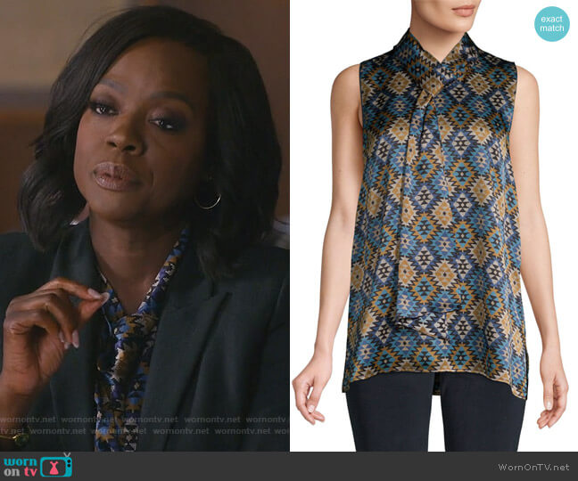 Tile-Print Blouse by Lafayette 148 New York worn by Viola Davis on HTGAWM