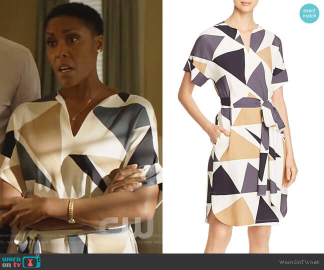 Jubilee Geometric-Print Dress by Lafayette 148 New York worn by Lynn Stewart (Christine Adams) on Black Lightning