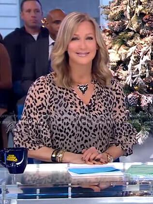 Lara's leopard tiered sleeve top on Good Morning America