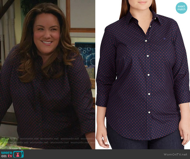 Floral-Print Cotton Shirt by Ralph Lauren worn by Katy Mixon on American Housewife