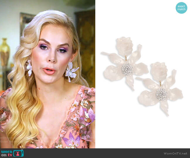 Crystal Lily Clip-On Earrings by Lele Sadoughi worn by Kameron Westcott  on The Real Housewives of Dallas