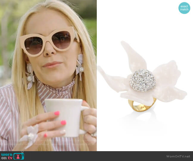 Crystal Lily Ring by Lele Sadoughi worn by Kameron Westcott  on The Real Housewives of Dallas