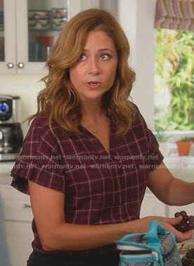 Lena's plaid ruffled short sleeve shirt on Splitting Up Together