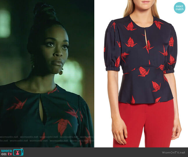 Puffed Sleeve Print Top by Lewit worn by Anissa Pierce (Nafessa Williams) on Black Lightning