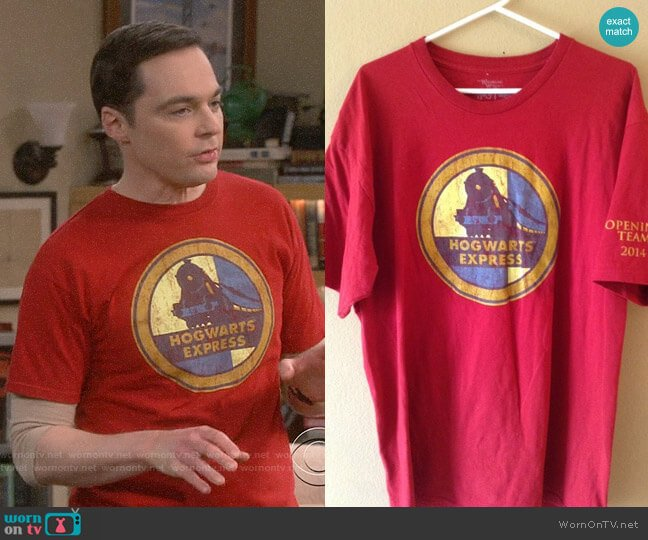 The Wizarding World of Harry Potter Hogwarts Express Tee worn by Sheldon Cooper (Jim Parsons) on The Big Bang Theory