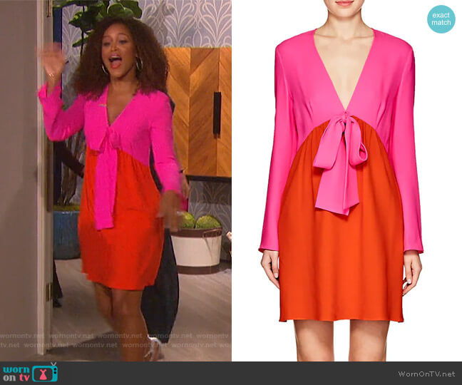 Colorblocked Crepe Sheath Dress by Lisa Perry worn by Eve  on The Talk