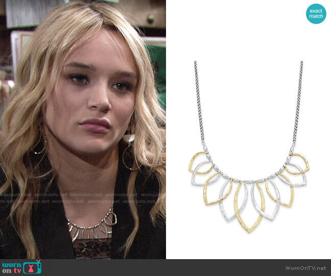 Lucky Brand Two Tone Petal Necklace worn by Hunter King on The Young & the Restless