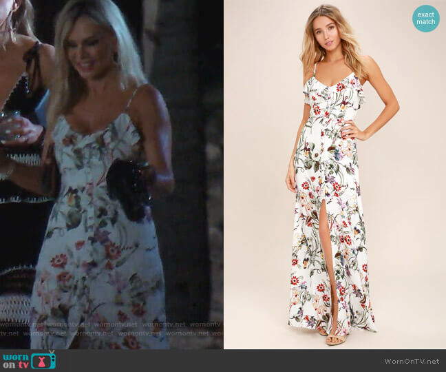 Bloom on Ivory Floral print Maxi Dress by Lulus worn by Tamra Judge  on The Real Housewives of Orange County