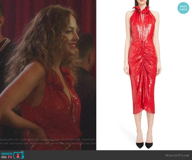 Ruched Sequin Sheath Dress by Magda Butrym worn by Fallon Carrington (Elizabeth Gillies) on Dynasty