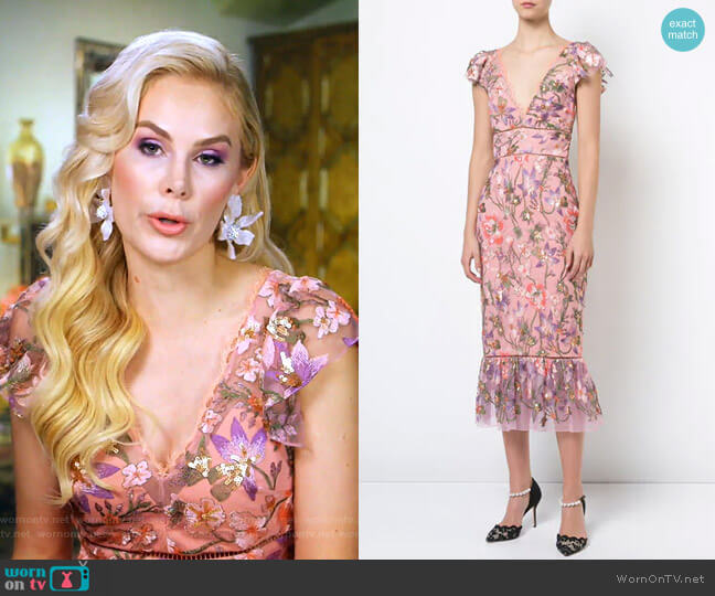Floral Fitted Dress by Marchesa Notte  worn by Kameron Westcott  on The Real Housewives of Dallas