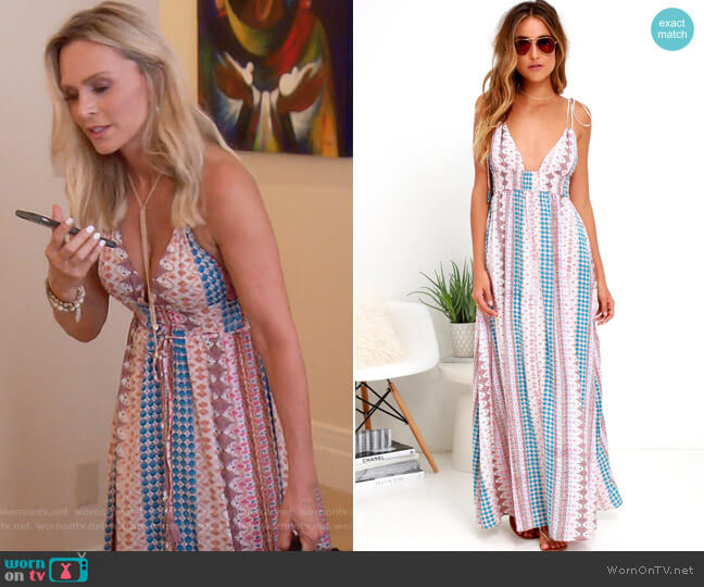 Maxin Relaxin Multi Print Maxi Dress by Lulus worn by Tamra Judge  on The Real Housewives of Orange County