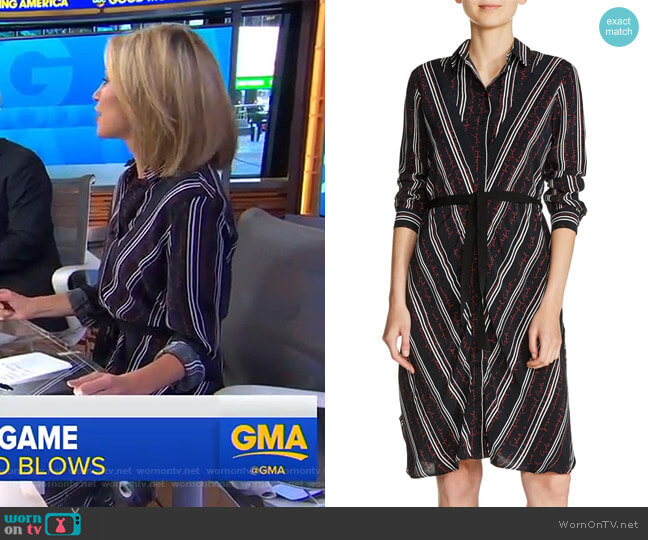 Stripe Shirtdress by Maje worn by Amy Robach (Amy Robach) on Good Morning America