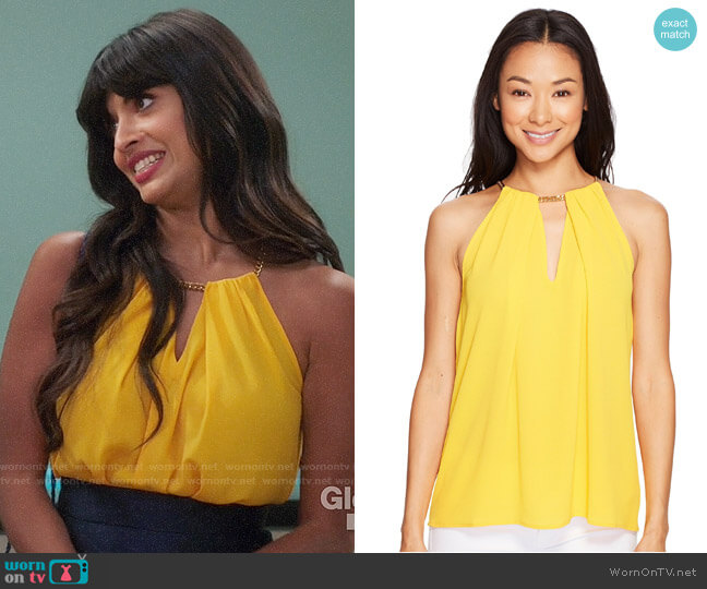 MICHAEL Michael Kors Chain Neck Slit Top worn by Tahani Al-Jamil (Jameela Jamil) on The Good Place