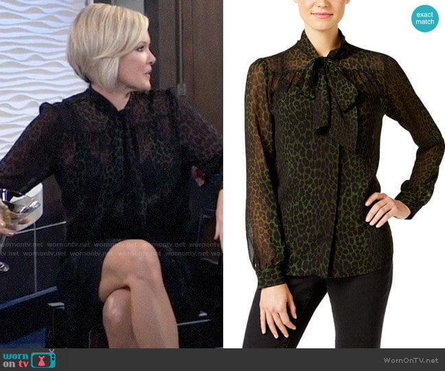 MICHAEL Michael Kors Animal-Print Sheer Tie-Neck Top worn by Ava Jerome (Maura West) on General Hospital