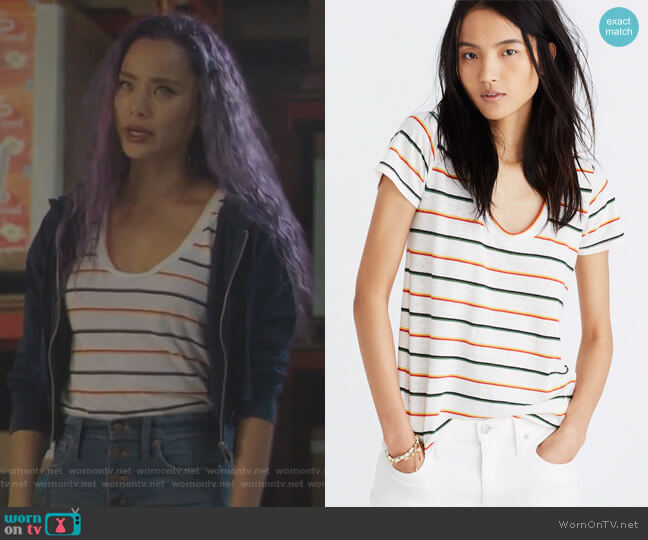 City Tee in Walcott Stripe by Madewell worn by Clarice Fong (Jamie Chung) on The Gifted