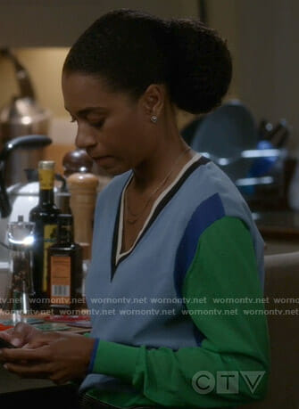Maggie's blue and green colorblock sweater on Grey's Anatomy