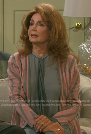 Maggie's pink and grey cardigan on Days of our Lives