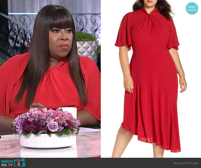 Asymmetrical Midi Dress by Maggy London worn by Loni Love on The Real