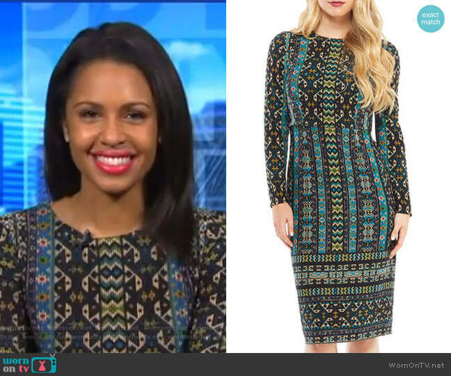 Long-Sleeve Global-Tile Sheath Dress by Maggy London worn by Adrienne Bankert on Good Morning America