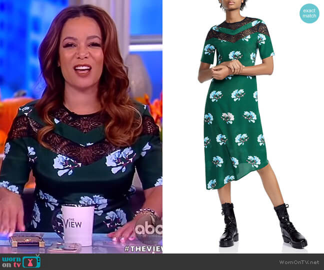 Rowers Asymmetric Floral-Print Midi Dress by Maje worn by Sunny Hostin  on The View