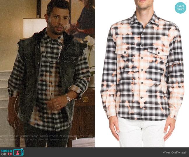 Marcelo Burlon Bleach-Distressed Plaid Shirt worn by Sam Flores (Rafael de la Fuente) on Dynasty
