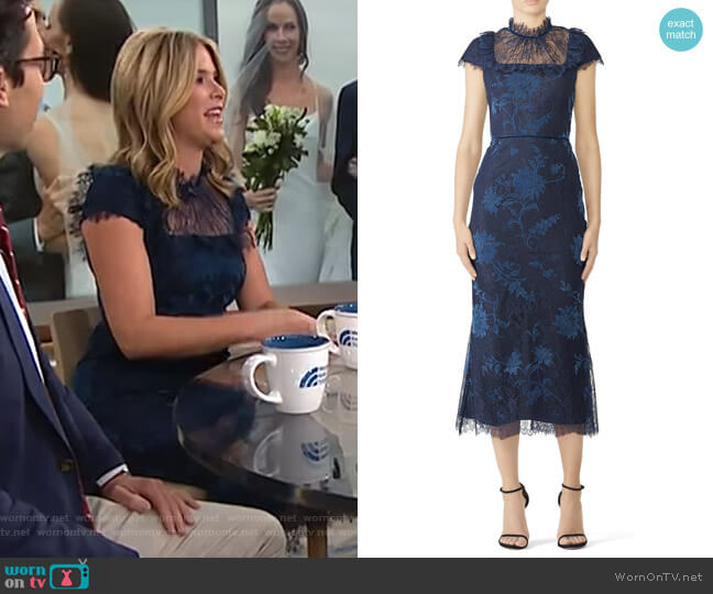 Navy Lace Bib Dress by Marchesa Notte worn by Jenna Bush Hager  on Today