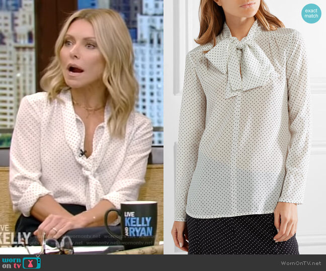 Silk Polka Dot Tie-Neck Blouse by Max Mara worn by Kelly Ripa  on Live with Kelly & Ryan