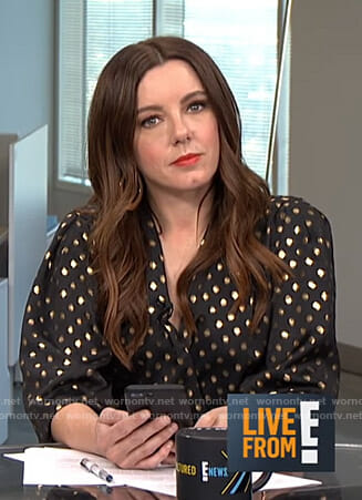 Melanie's metallic polka dot blouse on Live from E!