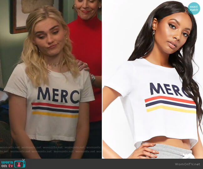 Merci Graphic Cropped Tee by Forever 21 worn by Meg Donnelly on American Housewife