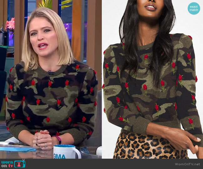 Rose Embroidered Camouflage Cashmere Pullover by Michael Kors worn by Sara Haines (Sara Haines) on Good Morning America