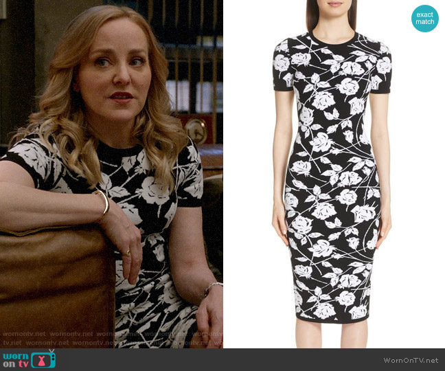 Michael Kors Stencil Rose Jacquard Dress worn by Marissa Morgan (Geneva Carr) on Bull