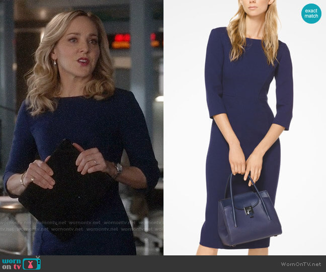Michael Kors Stretch Bouclé-Crepe Sheath Dress worn by Marissa Morgan (Geneva Carr) on Bull
