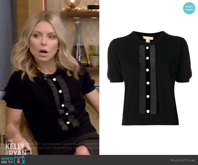 Button Front Knitted Top by Michael Kors worn by Kelly Ripa  on Live with Kelly & Ryan