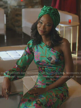Monica's green floral one-sleeve dress on Dynasty