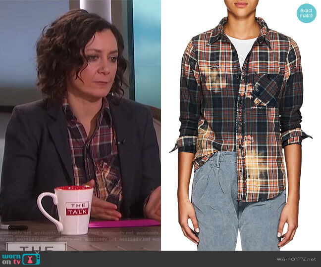 Bara Distressed Plaid Cotton Flannel Shirt by NSF worn by Sara Gilbert (Sara Gilbert) on The Talk