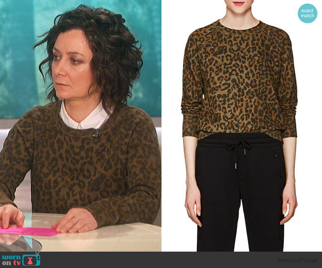 Saguro Leopard-Print Cotton Sweatshirt by NSF worn by Sara Gilbert  on The Talk